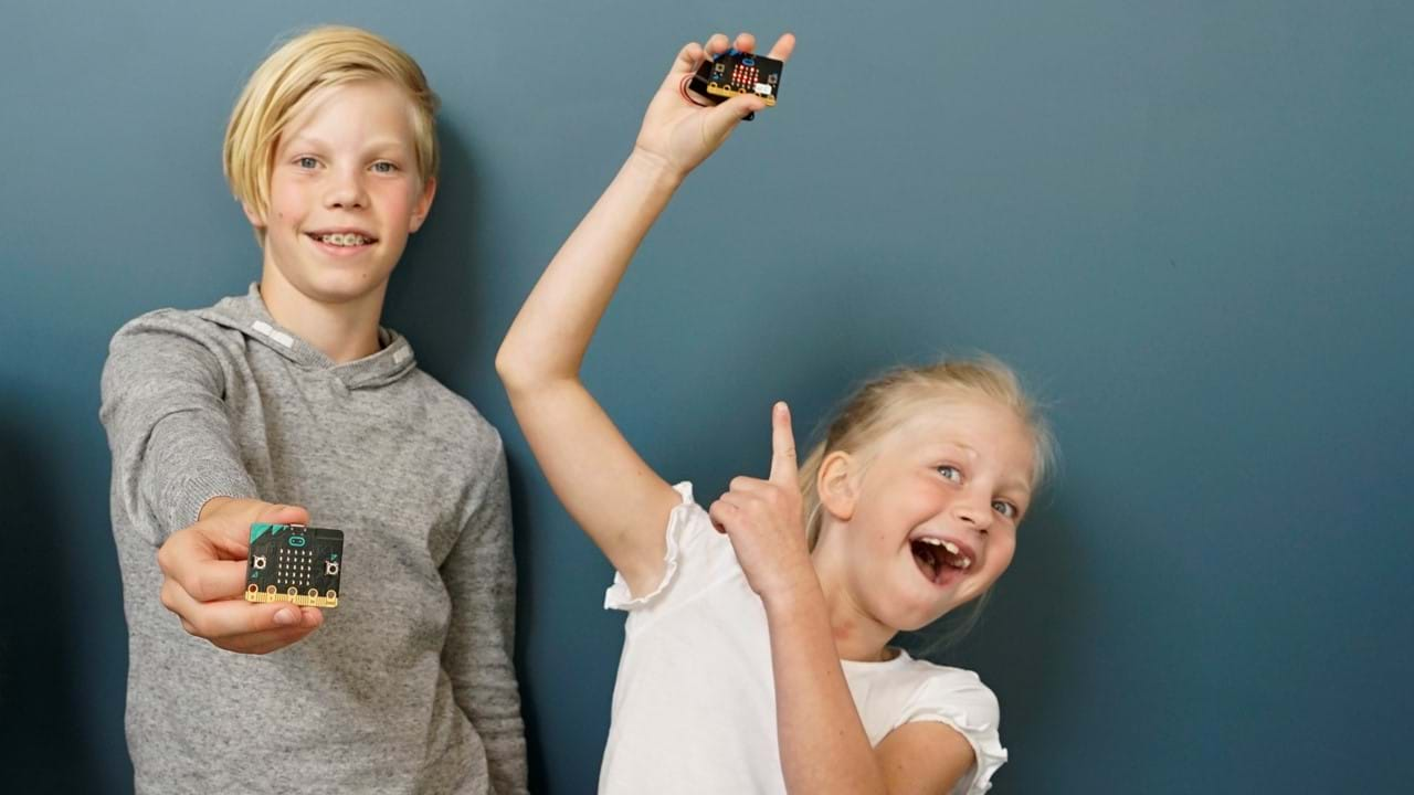 Elever med micro:bit.